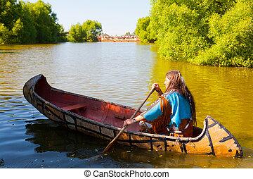 nord, canoa, giù, indiano americano, fiume, galleggianti