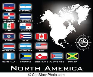 nord, carte, amérique