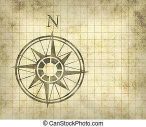 nord, carte, flèche, compas