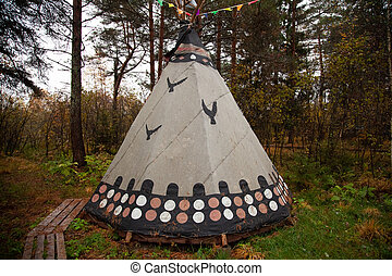 nord, cherokee, maison, tee, triangulaire, indien, pipi