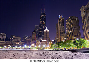 nord, chicago, plage, nuit