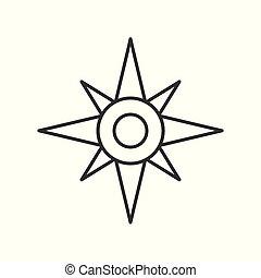 nord, contour, vecteur, compas, étoile, ou, icône