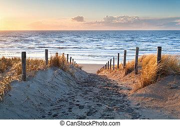 nord, costa, sabbia, tramonto, mare, percorso