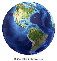 nord, d, globo, rendering., americas, realistico, 3, fondo...