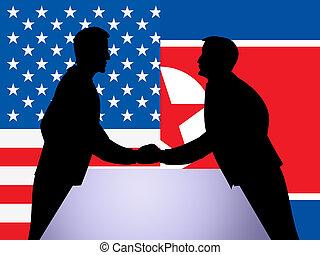 nord, diplomatique, illustration, main, nous, secousse, coréen, 3d