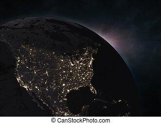 nord, espace, -, terre planète, amérique, levers de soleil