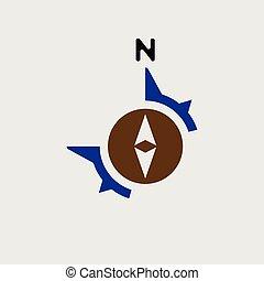 nord, gabarit, vecteur, flèche, compas, logo, icône