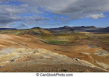 nord, hverir, island, namafjall, standort, erstaunlich,...