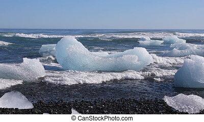 nord island, eisberge, atlantik, schwimmend