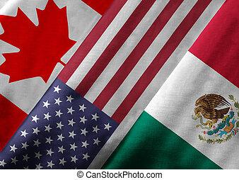 nord, nafta, accord, libre échange, membre, rendre, américain, 3d