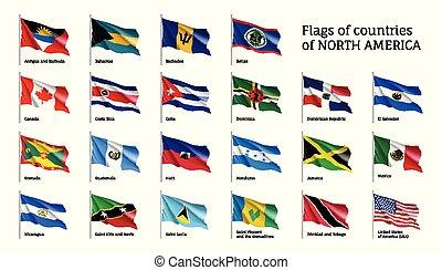 nord, ondeggiare, realistico, bandiere, america, continente