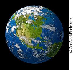 nord, pianeta, nero, terra, caratterizzare, america