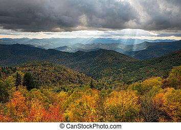 nord, route express, paysage, scénique, photographie, caroline, arête, automne, bleu