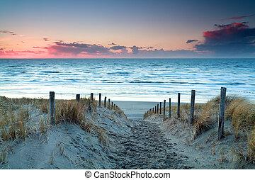 nord, sopra, sabbia, tramonto, mare, spiaggia