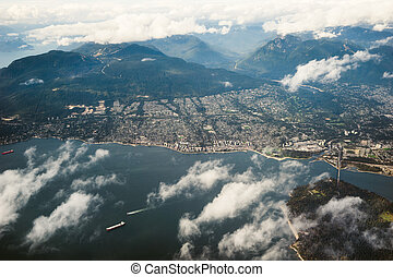 nord, sur, baie, air, regarder, vancouver, anglaise