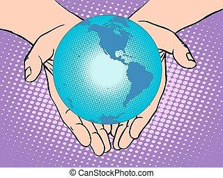 nord, terra pianeta, america, mani, sud