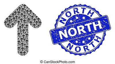 nord, watermark, haut, collage, rond, recursion, icône, détresse, flèche