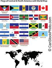 nord, &, wi, bandiere, america centrale