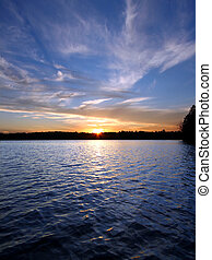 nord, wisconsin, lac, coucher soleil