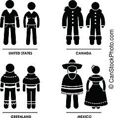 nordamerika, kleidung, kostüm