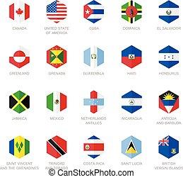 nordamerika, und, karibisch, fahne