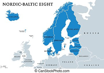 Nordic-Baltic Eight (NB8) member states political map. ...