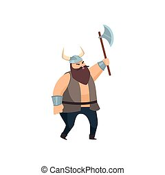 Nordic bearded viking goes with a highly raised battle ax over white background