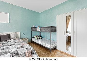 Nordic bedroom in blue color
