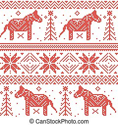 Nordic Christmas pattern with stars, snoflakes, horses in cross stitch