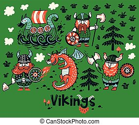Nordic collection with vikings, dragon and ship in cartoon style