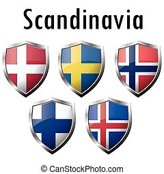 Nordic countries flags icons on white background. Correct...