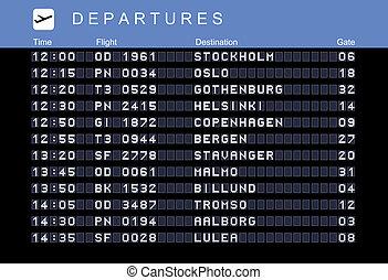 Nordic destinations - Departure board - destination...