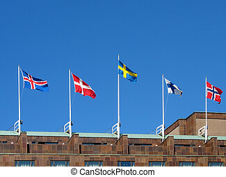 Nordic flags - Flags of the five nordic countries, Iceland,...