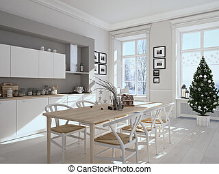 nordic kitchen with christmas decoration. 3d rendering - 3d...