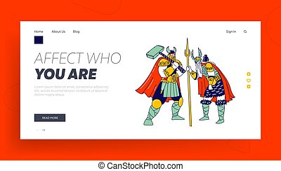 Nordic Mythology Heroes Landing Page Template. Viking ...