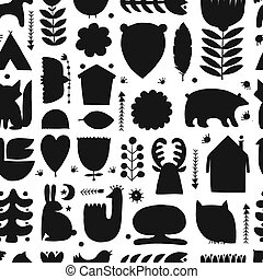 Nordic Ornament. Forest Animals, Folk Background. Seamless pattern for your design