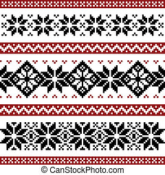 Nordic pattern with snowflakes, black and red silhoeuttes...