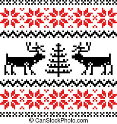 Nordic pattern with deer, black and red silhoeuttes isolated on white background.