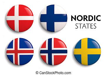 Nordic Scandinavian counties state flags.