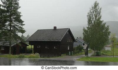 """""""nordic, schwerer regen, dorf, bei, oslo, norway"""""""