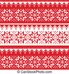 Nordic seamless christmas pattern - Winter vector background...