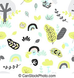 Nordic seamless pattern. Leaf, tree, rainbow, grass