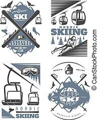 Nordic Skiing Emblem Design Set
