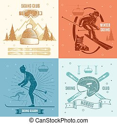 Nordic Skiing Retro Style Emblems
