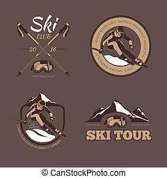 Nordic skiing vector emblems, labels, badges, logos set
