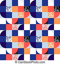 Simple geometric tiles vector texture. Nordic style colorful seamless tiles.