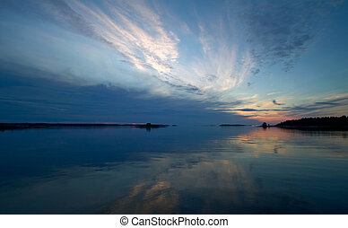 Scenic sunset in Stockholm archipelago.