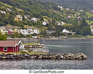 Nordic town in the mountains