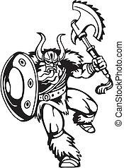 Nordic viking - vector illustration. Vinyl-ready. - Nordic...