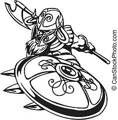 Nordic viking - black white vector illustration. Vinyl-ready.